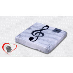 Szalvéta - fehér kottás violinkulccsal (20 db/csom)