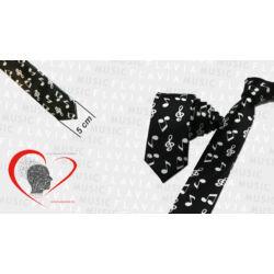 Nyakkendő fekete alapon fehér hangjegyek