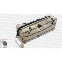 Textil tolltartó, téglatest - kottával és cicákkal