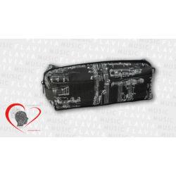 Textil tolltartó, téglatest - fekete kottás