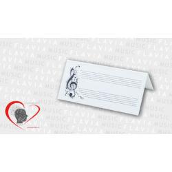 Ültetőkártya - violinkulcs kottasorral