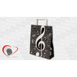 Papírtáska - fekete kottamintás violinkulccsal