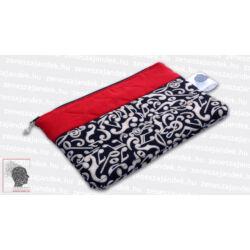 Textil mini neszeszer - piros steppelt, barna hangjegyes anyaggal