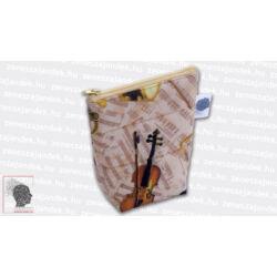 Textil mini neszeszer - barna kottás hangszerekkel