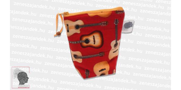 Textil mini neszeszer - piros gitáros