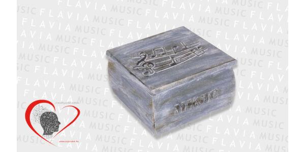 Zenész kincses doboz - antikolt szürke 3D kottával