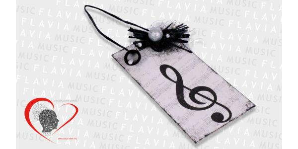 Ajtódísz - fekete fehér design violinkulccsal