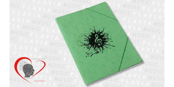 Zenész prespán gumis mappa - zöld