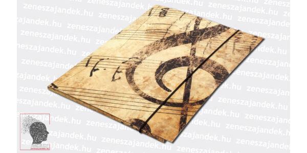 A4+ Elegáns violinkulcsos gumis mappa