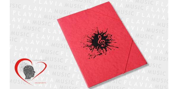 Zenész prespán gumis mappa - piros