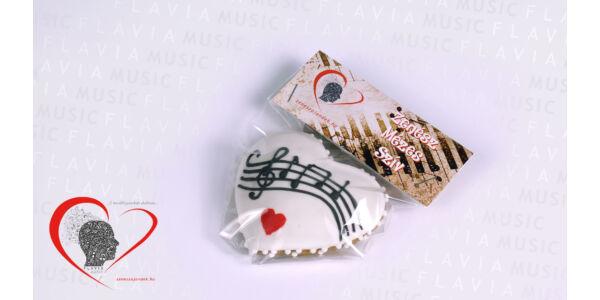 Zenész mézes szív - fehér, kottával