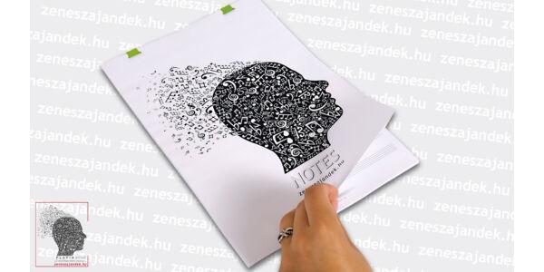 Kottás jegyzetfüzet zenészeknek A4 – Hangjegyes fej