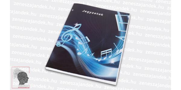 Sima lapos jegyzetfüzet A5 – Modern zenei mintával, kottasorral