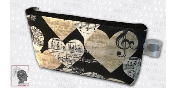 Textil tolltartó - kottasorral, szívekkel