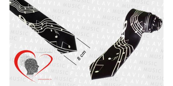 Nyakkendő fekete alapon violinkulcs kottával