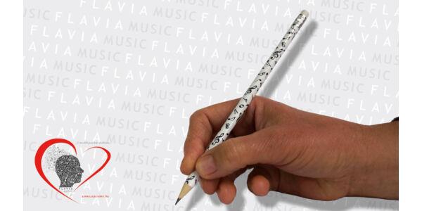Ceruza - fehér, zenei írásjelek gazdagon