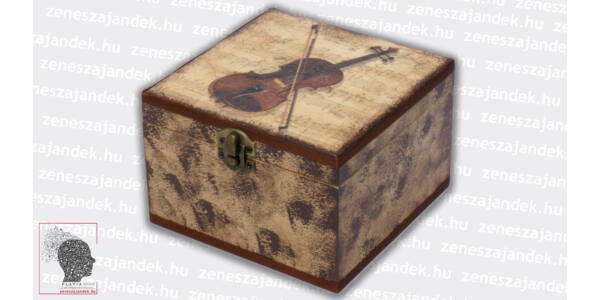 Zenész kincses doboz - hegedű mintával
