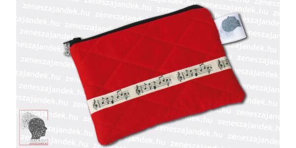 Textil mini neszeszer - piros steppelt, kottasorral